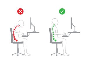 Correct posture in sitting working