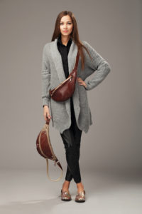 Elegant Model In Gray Woven Cardigan With Two Leather Fanny Pack